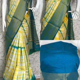 Party Wear Yellow & Blue Designer Tussar Silk Sarees at Best Price in India