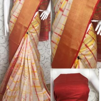 Womens Wear Blooming Orange Colored Tussar Silk Sarees at Best Price in India