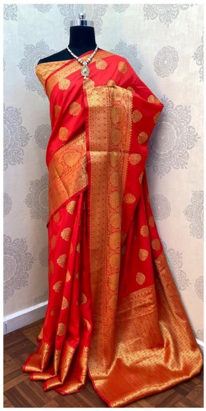 Womens Wear Capricious Red Colored Banarasi Silk Saree at Best Price in India
