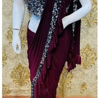 Party Wear Graceful Wine Colored Heavy Georgette Ruffle Saree at Best Price in India