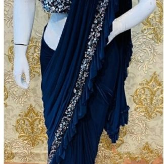 Wedding Wear lovely Navy Blue Colored Georgette Designer Ruffle Saree at Best Price in India