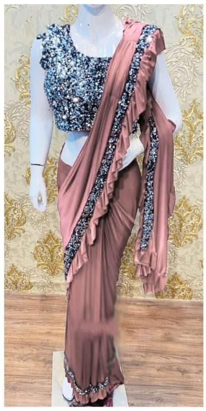 Party Wear Demanding Peach Colored Ruffle Saree at Best Price in India
