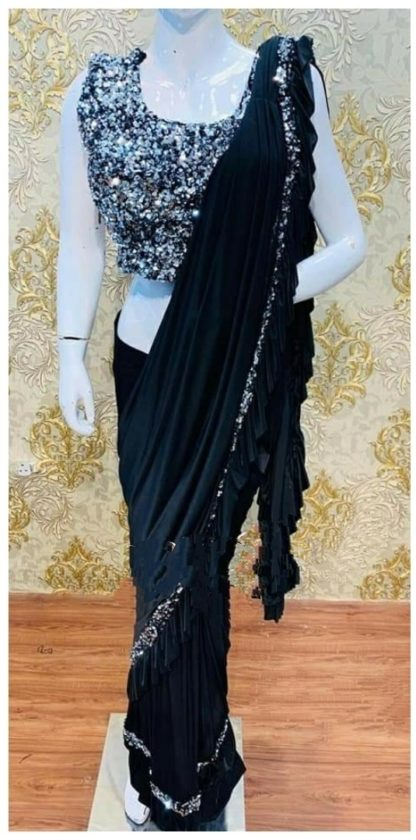 Function Wear Trendy Black Colored Ruffle Saree at Best Price in India