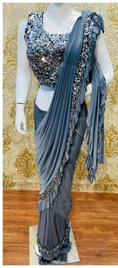 Party Wear Groovy Frey Colored Designer Ruffle Saree at Best Price in India