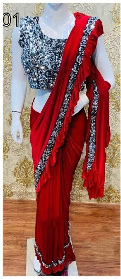 Wedding Wear Elegant Red Colored Georgette Latest Ruffle Saree at Best Price in India