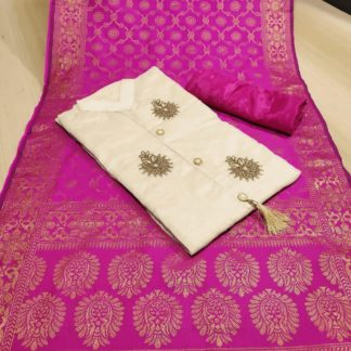 Womens Wear Pink & Cream Colored Chanderi Cotton Party Wear Suit at Best Price in India