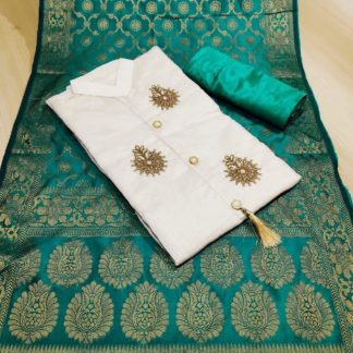 Womens Wear Cream & Rama Blue Heavy Chanderi Cotton Party Wear Suit at Best Price in India