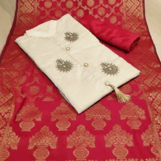 Womens Wear Cream & Red Chanderi Cotton Party Wear Suit at Best Price in India