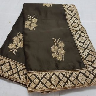 Wedding Wear Jazzy Chocolate Colored silk sarees online at Best Price in India