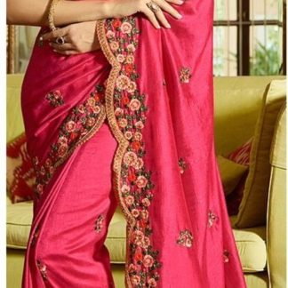 Pink Colored Sana Silk Embroidered Saree with silk Blouse for ladies