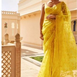 Yellow Colored Soft Net Embroidered Saree And Bangoli Silk Blouse for ladies