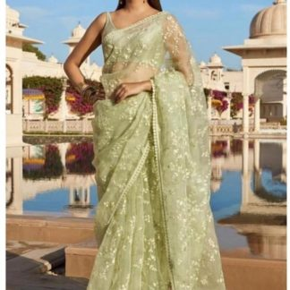 Mehendi Green Colored Net Embroidered Saree And Banglori Silk Blouse for ladies