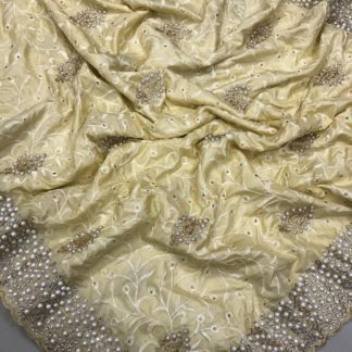 Golden Colored Silk Embroidered Saree And Sana Silk Blouse for ladies