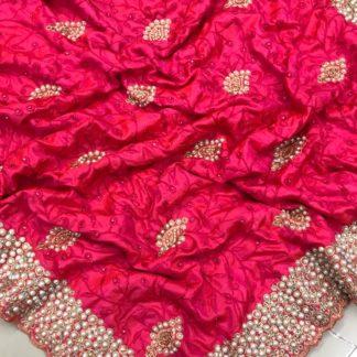 Pink Colored Sana Silk Embroidered Saree for ladies