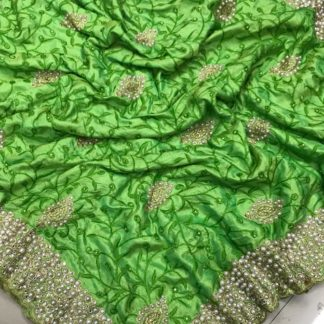 Green Colored Sana Silk Saree And Silk Unstitched Blouse for ladies