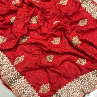 Red Colored Sana Silk Embroidered Saree for ladies