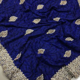 Royal Blue Colored Sana Silk Embroidered Saree for ladies