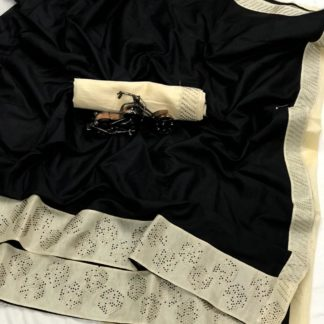 Black Colored Sana Pure Silk Stone Work Saree for ladies