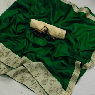 Green Colored Sana Silk Embroidered Saree for ladies