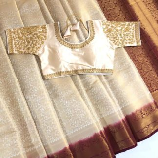 Exotic Cream Colored Nylon Silk Saree & Ready Made Blouse for ladies