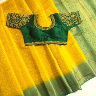 Startling Yellow & Green Nylon Silk Saree & Ready Made Blouse