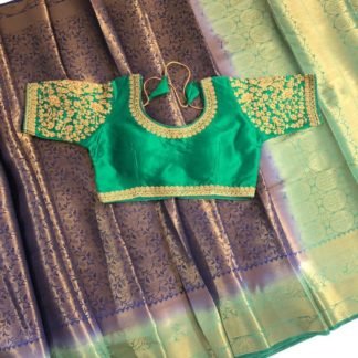 Stupefying Purple & Green Nylon Silk Saree & Ready Made Blouse