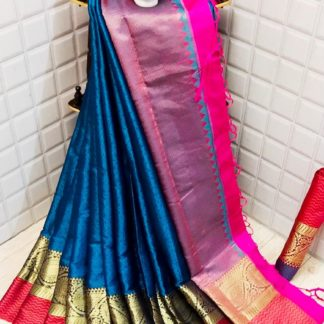 Startling Sky Blue Colored Silk Saree With Blouse