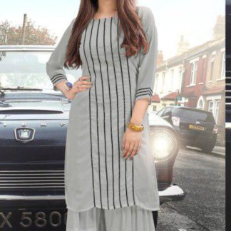 Marvellous Grey Colored Pure Georgette Sharara Kurti For Women