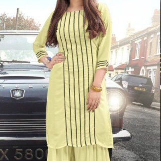 Splendid Yellow Colored Pure Georgette Sharara Kurti For Women