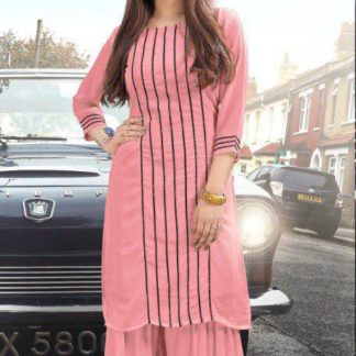 Imposing Pink Colored Pure Georgette Sharara Kurti For Women