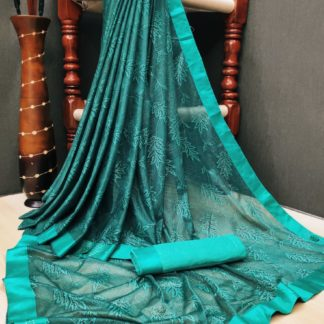 Mind-Blowing Rama Blue Colored Soft Lycra Saree With Fabulous Print All Over Saree