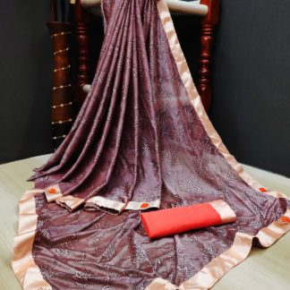 Super Maroon Colored Soft Lycra Saree With Fabulous Print All Over Saree