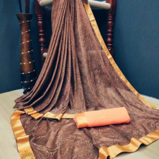 Fantastic Brown Colored Soft Lycra Saree With Fabulous Print All Over Saree