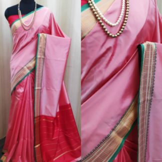 Lovely Baby PinkColored Soft Silk Two Tone Saree For Wedding Wear