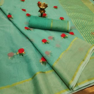 Incredible Sky Blue Colored Super Net with Thread Embroidered Work Saree
