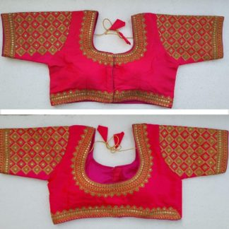 Wonderful Rani Colored Silk Handwork Thread And Coding Work Ready Made Blouse