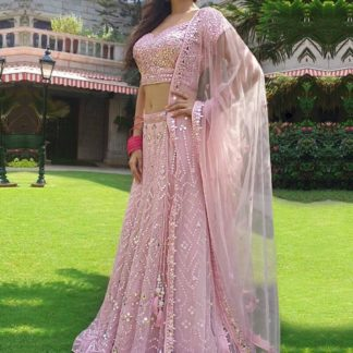 Knockout Pink Colored Georgette Embroidered Work Wedding Wear Lehenga Choli