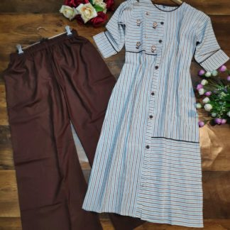 Groovy Coffee Colored Party Wear Embroidered Heavy Cotton Palazzo Suit-VT309105-1