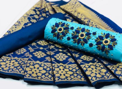 Phenomenal Skyblue Colored Partywear Cotton Embroidered Salwar Suit-KM13-4