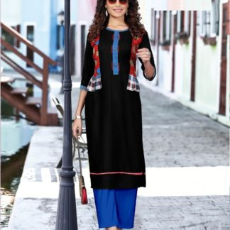 Black color Party Wear Printed Rayon Kurti-IN25-3