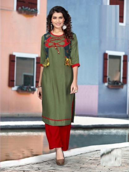New Green color Party Wear Printed Rayon Kurti-IN25-4
