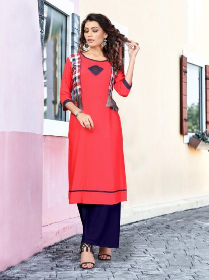 Tomato color Party Wear Printed Women's Rayon Kurti-IN25-5