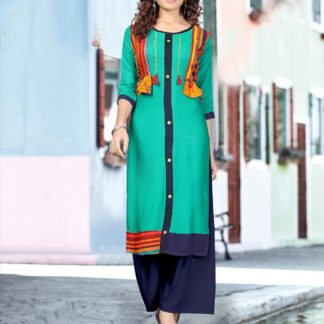 Green color Party Wear Printed Latest Women's Rayon Kurti-IN25-6