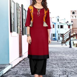 Maroon color Party Wear Printed Latest Women's Rayon Kurti-IN25-7