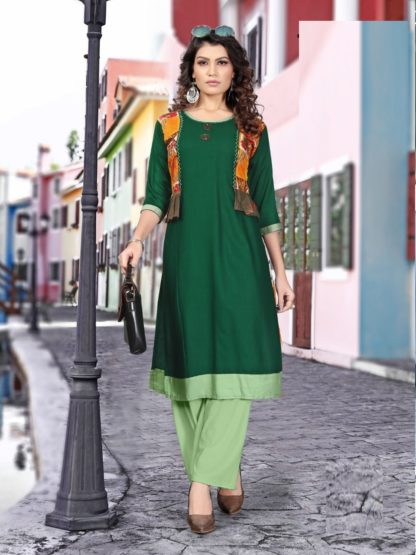 Green color Printed Latest Rayon Kurti For Women-IN25-8