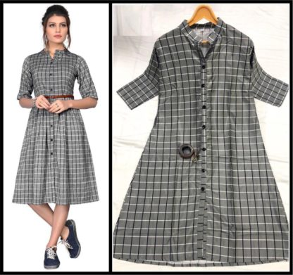Awesome Twill Fabric checks Printed Stitched Kurti For Girls-VT103101-2