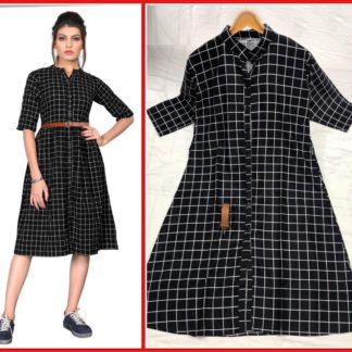 Beautiful Black Twill Fabric checks Printed Stitched Kurti For Girls-VT103101-3