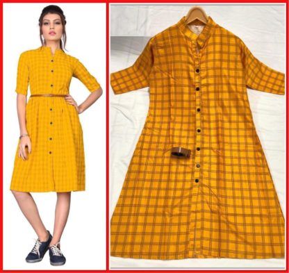 Yellow Colored Twill Fabric checks Printed Stitched Kurti For Girls-VT103101-4