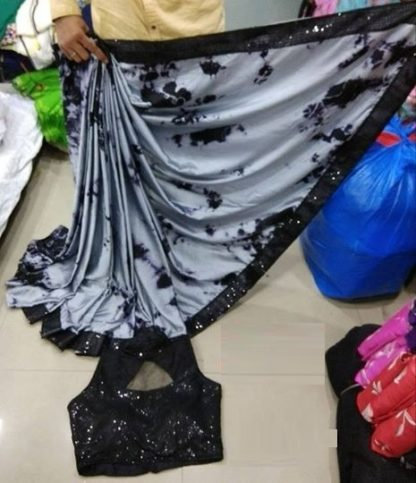 Gray Color Gajji Silk Saree with Readymade Net Sequence work Black Blouse