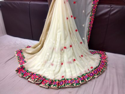 White Georgette Embroidered Saree With Blouse
